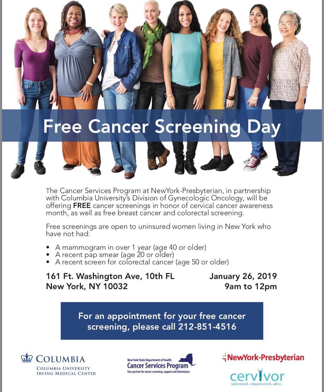 Herbert Irving Cancer Center FREE CANCER SCREENING DAY - Cervivor